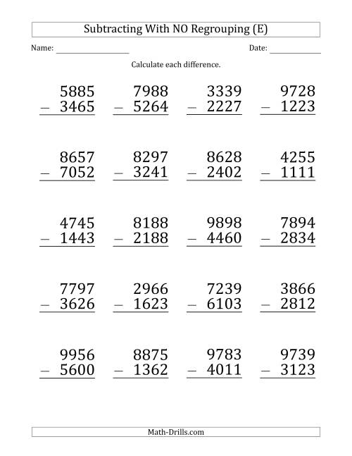 The Large Print 4-Digit Minus 4-Digit Subtraction with NO Regrouping (E) Math Worksheet