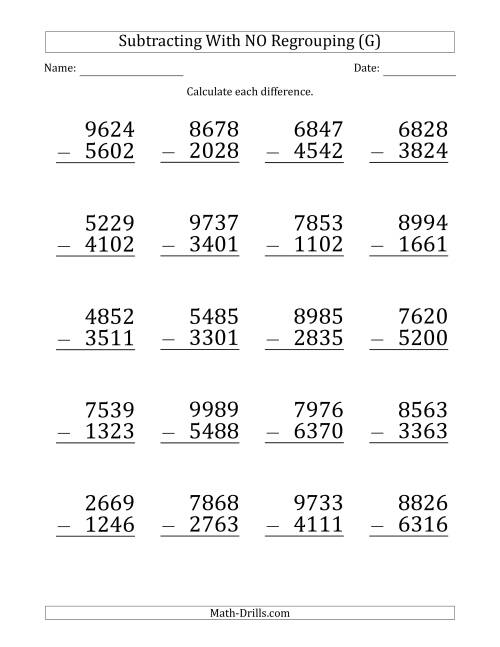 The Large Print 4-Digit Minus 4-Digit Subtraction with NO Regrouping (G) Math Worksheet