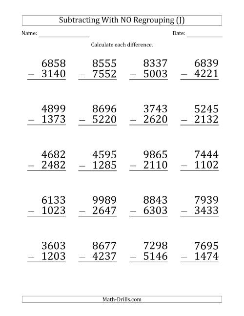 The Large Print 4-Digit Minus 4-Digit Subtraction with NO Regrouping (J) Math Worksheet