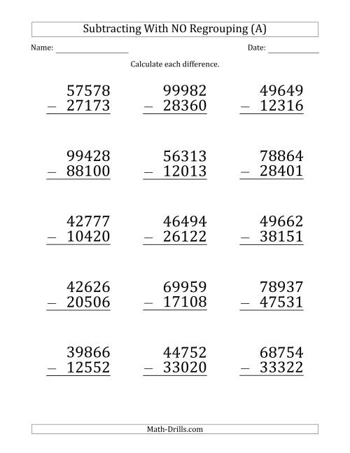 The Large Print 5-Digit Minus 5-Digit Subtraction with NO Regrouping (A) Math Worksheet