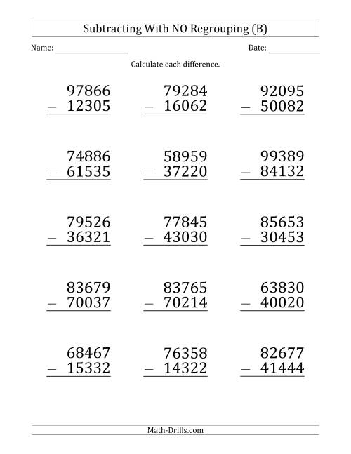 The Large Print 5-Digit Minus 5-Digit Subtraction with NO Regrouping (B) Math Worksheet