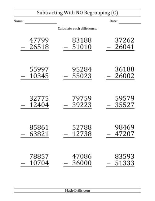 The Large Print 5-Digit Minus 5-Digit Subtraction with NO Regrouping (C) Math Worksheet