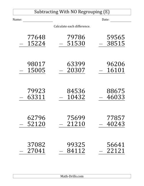 The Large Print 5-Digit Minus 5-Digit Subtraction with NO Regrouping (E) Math Worksheet