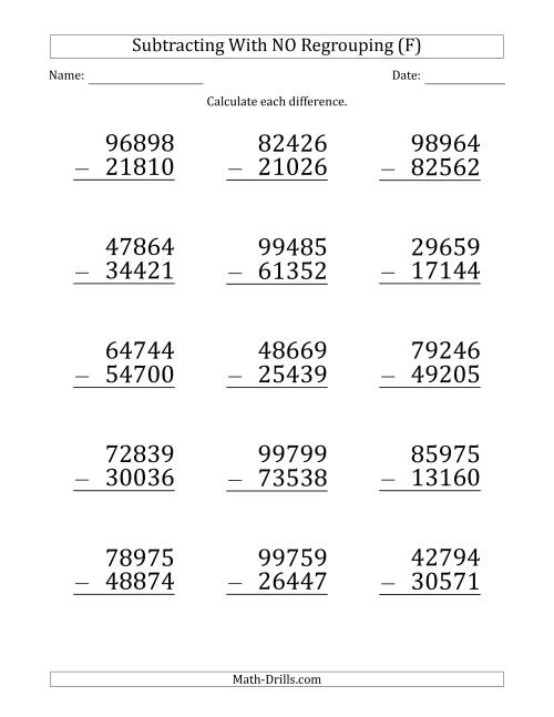 The Large Print 5-Digit Minus 5-Digit Subtraction with NO Regrouping (F) Math Worksheet