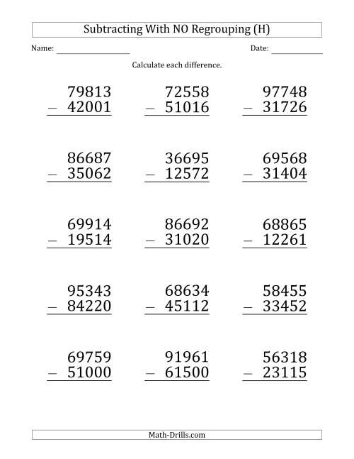 The Large Print 5-Digit Minus 5-Digit Subtraction with NO Regrouping (H) Math Worksheet