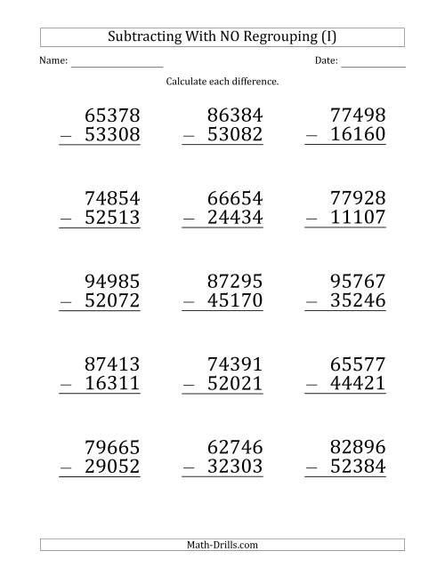 The Large Print 5-Digit Minus 5-Digit Subtraction with NO Regrouping (I) Math Worksheet