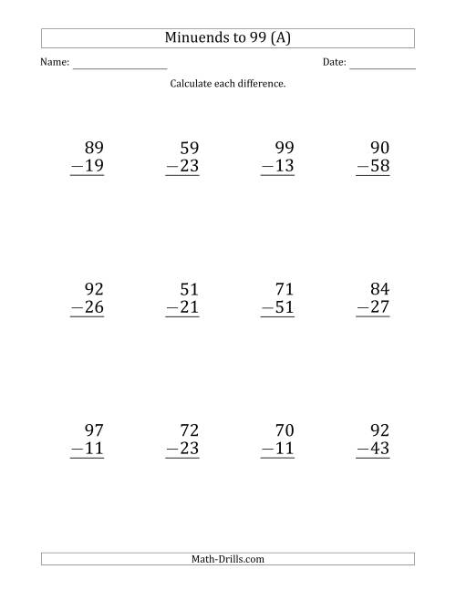 The Large Print Subtracting 2-Digit Numbers with Minuends up to 99 (12 Questions) (A) Math Worksheet