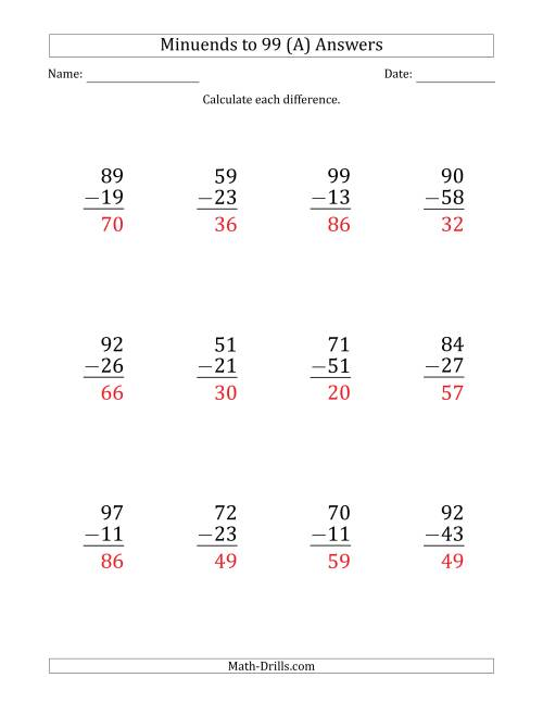 The Large Print Subtracting 2-Digit Numbers with Minuends up to 99 (12 Questions) (A) Math Worksheet Page 2