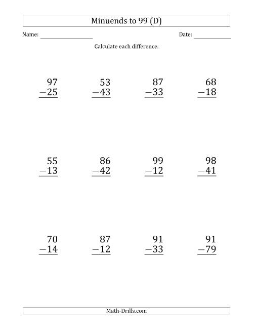 The Large Print Subtracting 2-Digit Numbers with Minuends up to 99 (12 Questions) (D) Math Worksheet