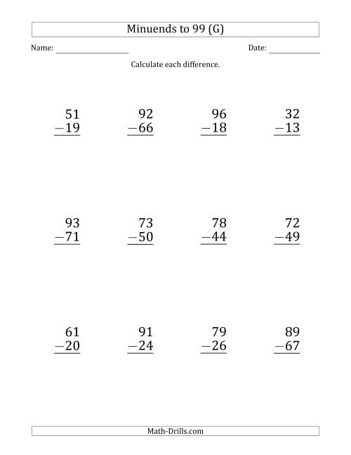 The Large Print Subtracting 2-Digit Numbers with Minuends up to 99 (12 Questions) (G) Math Worksheet