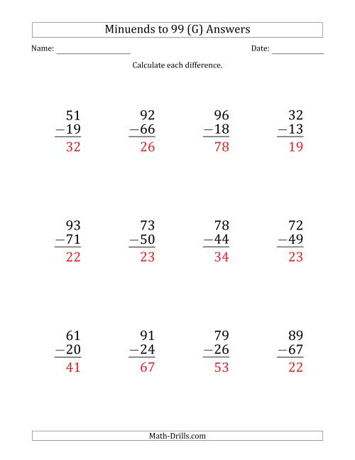 The Large Print Subtracting 2-Digit Numbers with Minuends up to 99 (12 Questions) (G) Math Worksheet Page 2