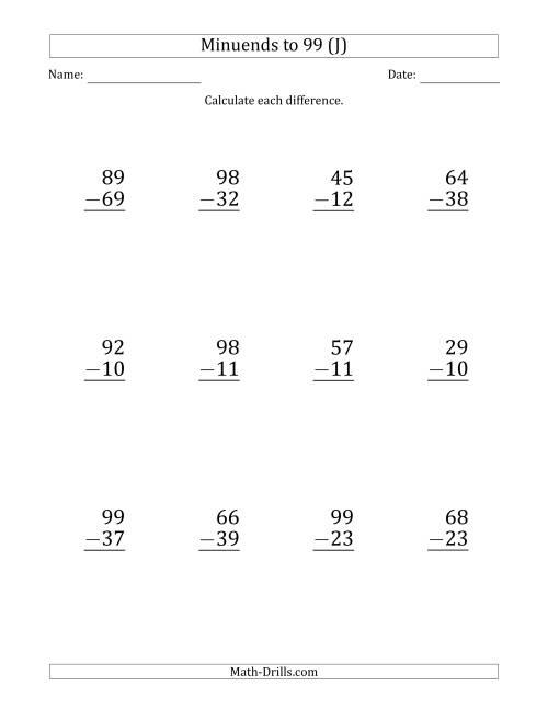 The Large Print Subtracting 2-Digit Numbers with Minuends up to 99 (12 Questions) (J) Math Worksheet