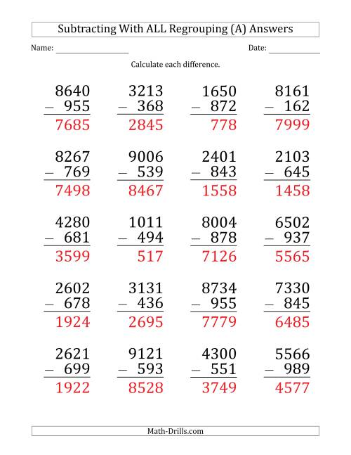 The Large Print Subtracting 3-Digit Numbers with All Regrouping (A) Math Worksheet Page 2