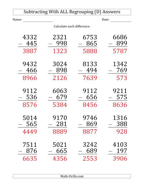 The Large Print Subtracting 3-Digit Numbers with All Regrouping (D) Math Worksheet Page 2