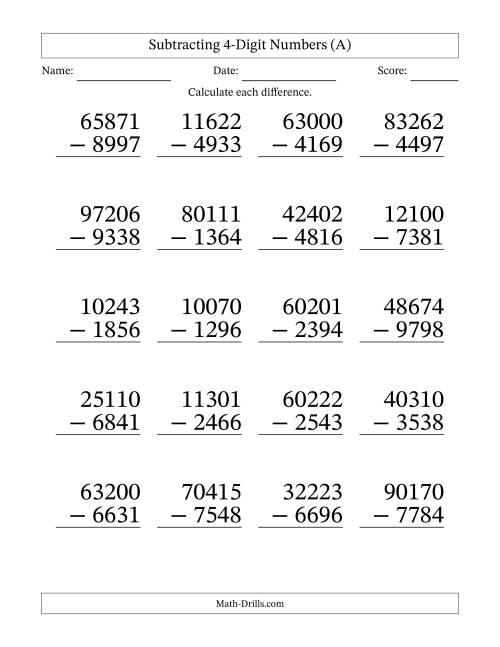 Worksheet 10001294 4 Digit Subtraction Worksheets with – 4 Digit Subtraction with Borrowing Worksheets