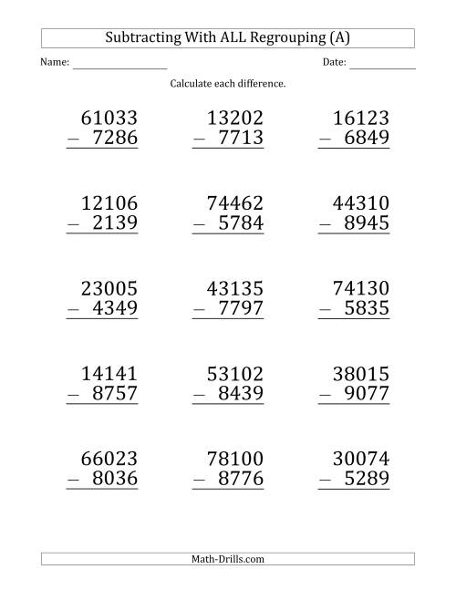 The Large Print Subtracting 4-Digit Numbers with All Regrouping (A) Math Worksheet