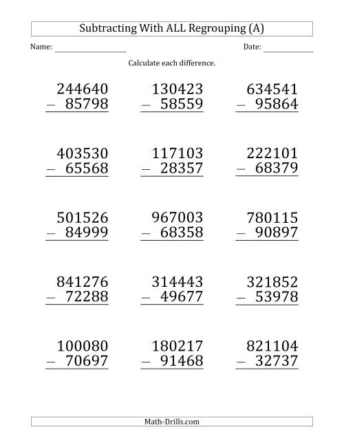 The Large Print Subtracting 5-Digit Numbers with All Regrouping (A) Math Worksheet