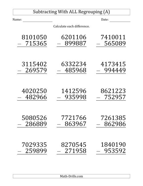The Large Print Subtracting 6-Digit Numbers with All Regrouping (A) Math Worksheet