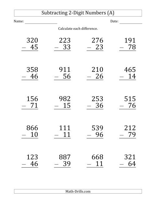 Large Print 3Digit Minus 2Digit Subtraction A Subtraction – 3 Digit Subtraction Worksheets