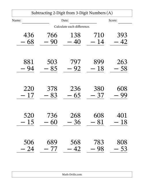 large print 3 digit minus 2 digit subtraction a. Black Bedroom Furniture Sets. Home Design Ideas