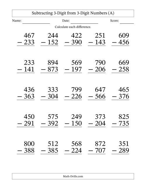 Large Print 3-Digit Minus 3-Digit Subtraction (A ...