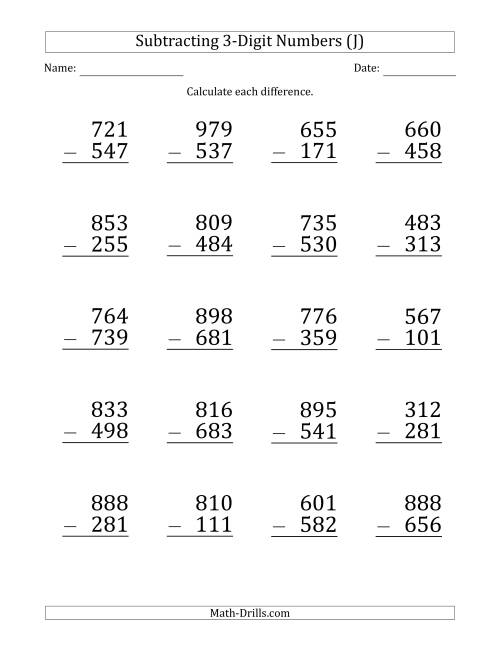 The Large Print 3-Digit Minus 3-Digit Subtraction (J) Math Worksheet