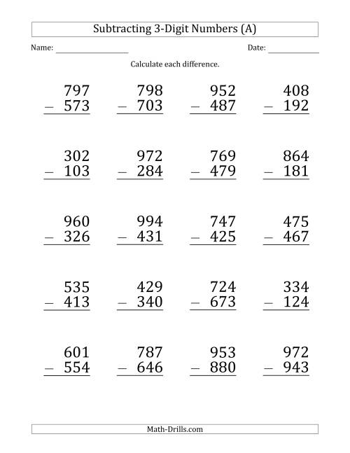 The Large Print 3-Digit Minus 3-Digit Subtraction (All) Math Worksheet