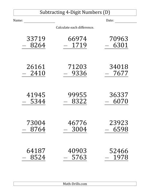 The Large Print 5-Digit Minus 4-Digit Subtraction (D) Math Worksheet