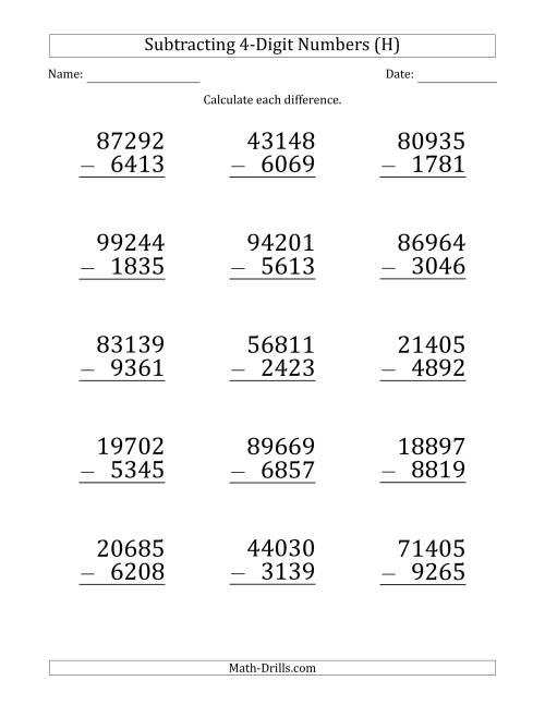 The Large Print 5-Digit Minus 4-Digit Subtraction (H) Math Worksheet