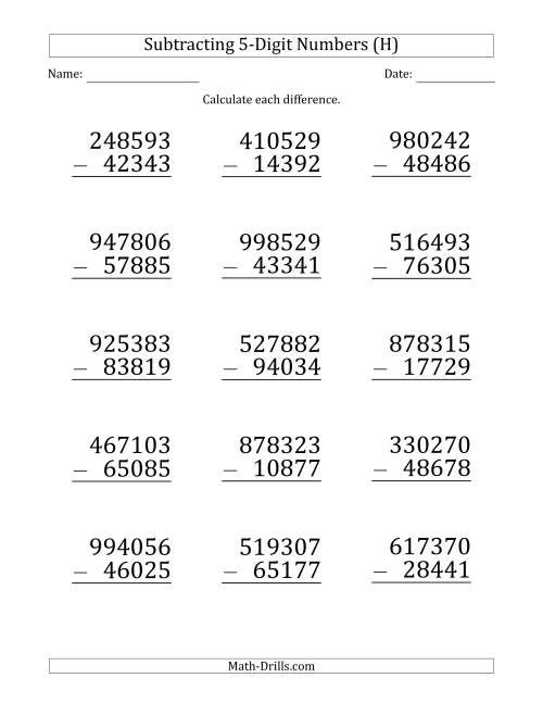 The Large Print 6-Digit Minus 5-Digit Subtraction (H) Math Worksheet