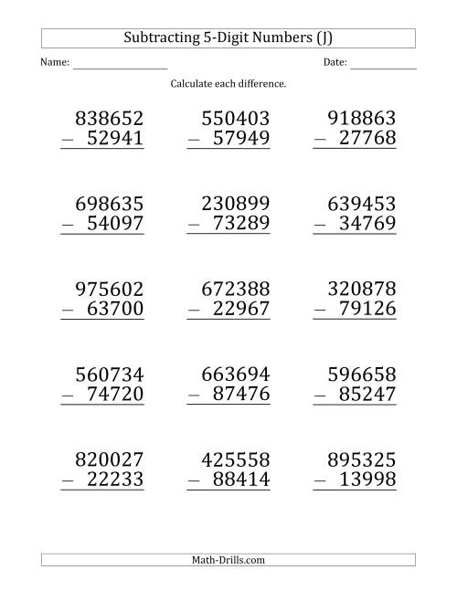 The Large Print 6-Digit Minus 5-Digit Subtraction (J) Math Worksheet