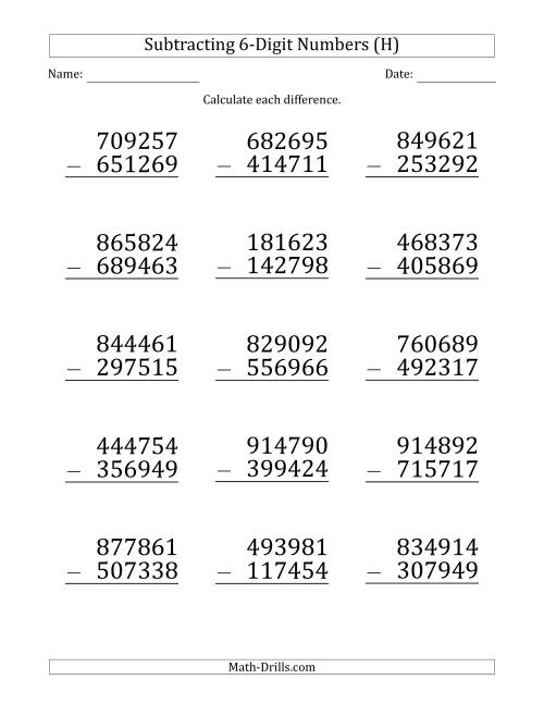 The Large Print 6-Digit Minus 6-Digit Subtraction (H) Math Worksheet