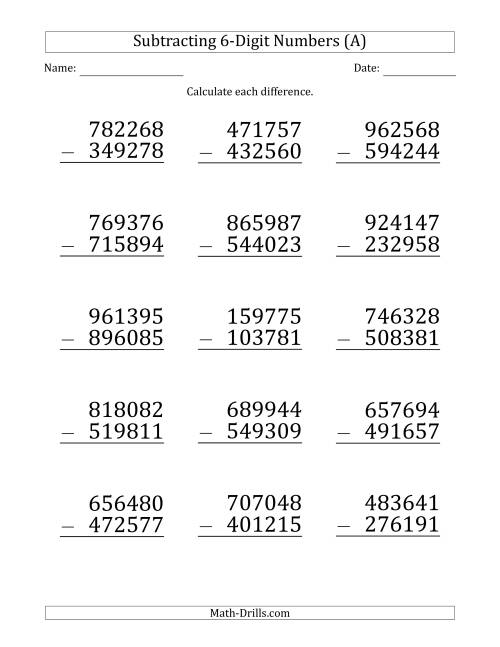 The Large Print 6-Digit Minus 6-Digit Subtraction (All) Math Worksheet