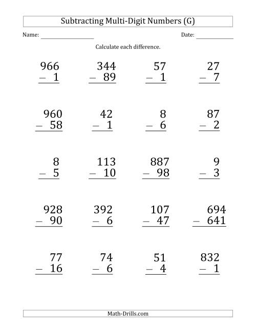 The Large Print Various-Digit Minus Various-Digit Subtraction (G) Math Worksheet
