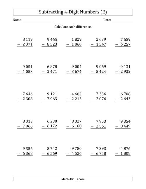 The 4-Digit Minus 4-Digit Subtraction with Space-Separated Thousands (E) Math Worksheet