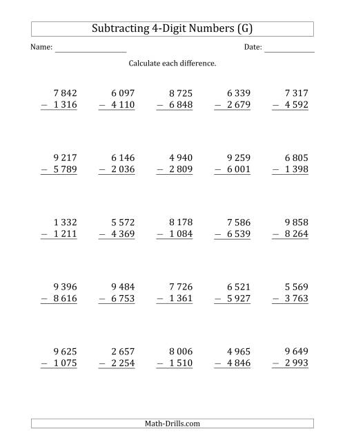 The 4-Digit Minus 4-Digit Subtraction with Space-Separated Thousands (G) Math Worksheet