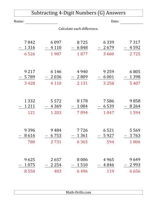 The 4-Digit Minus 4-Digit Subtraction with Space-Separated Thousands (G) Math Worksheet Page 2