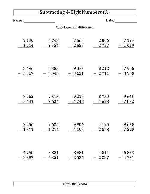 The 4-Digit Minus 4-Digit Subtraction with Space-Separated Thousands (All) Math Worksheet