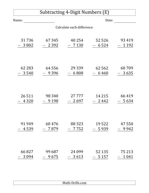 The 5-Digit Minus 4-Digit Subtraction with Space-Separated Thousands (E) Math Worksheet