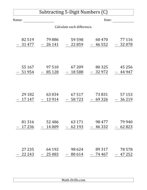 The 5-Digit Minus 5-Digit Subtraction with Space-Separated Thousands (C) Math Worksheet