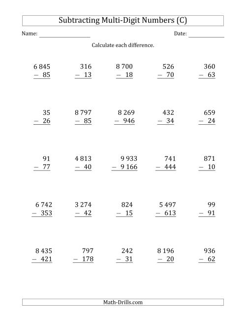 The Subtracting Various Multi-Digit Numbers from 2- to 4-Digits with Space-Separated Thousands (C) Math Worksheet