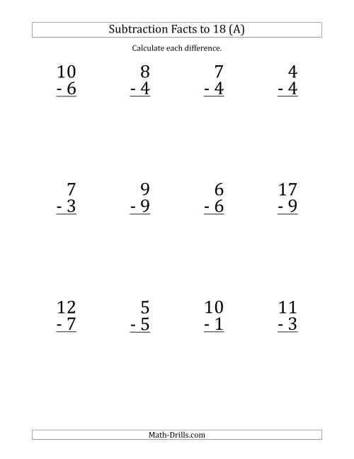 math worksheet : 12 vertical subtraction facts with minuends from 0 to 18 a  : Vertical Subtraction Worksheets