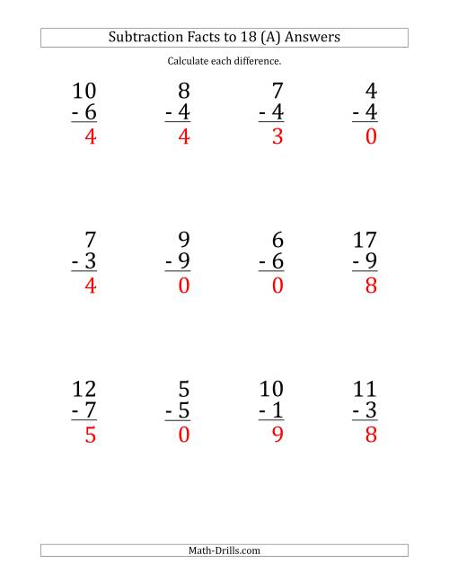 The 12 Vertical Subtraction Facts with Minuends from 0 to 18 (A) Math Worksheet Page 2