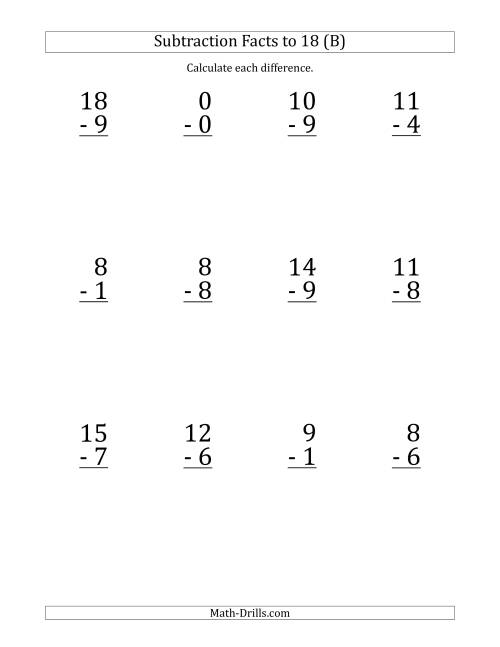 The 12 Vertical Subtraction Facts with Minuends from 0 to 18 (B) Math Worksheet