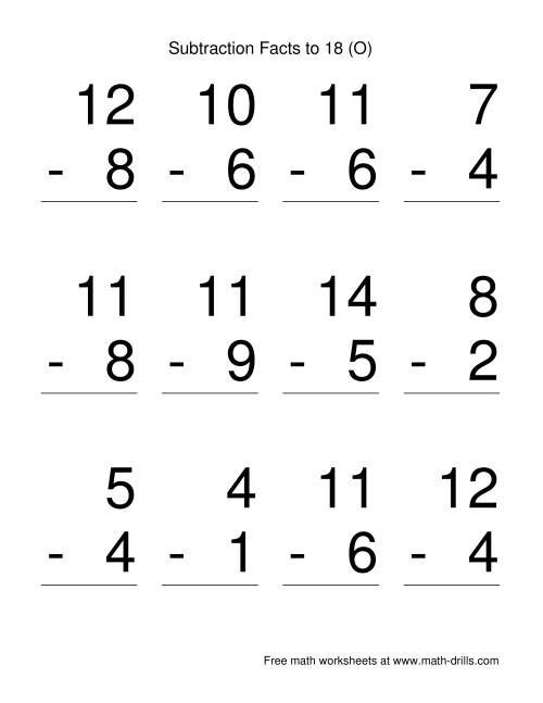 The Vertical Subtraction Facts to 18 -- Large Print (O) Math Worksheet