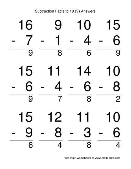 The Vertical Subtraction Facts to 18 -- Large Print (V) Math Worksheet Page 2