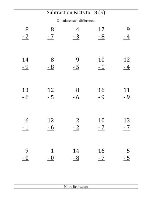 The 25 Vertical Subtraction Facts with Minuends from 0 to 18 (E) Math Worksheet