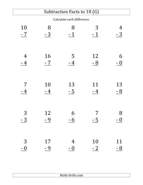 The 25 Vertical Subtraction Facts with Minuends from 0 to 18 (G) Math Worksheet