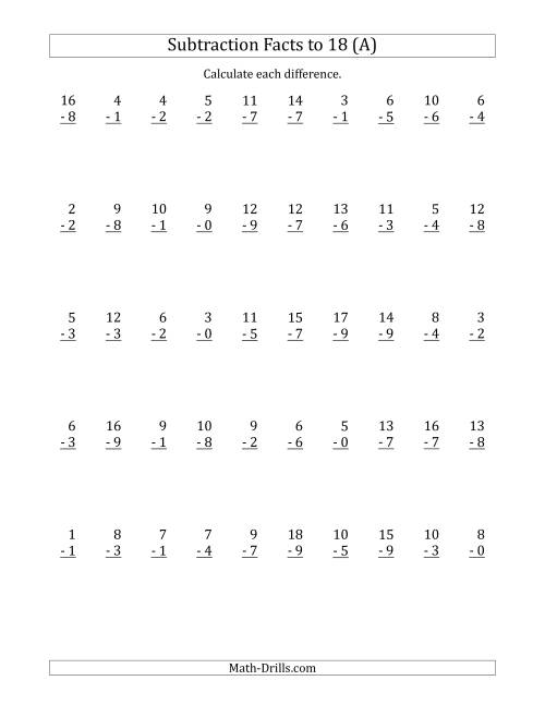 The 50 Vertical Subtraction Facts with Minuends from 0 to 18 (A) Math Worksheet