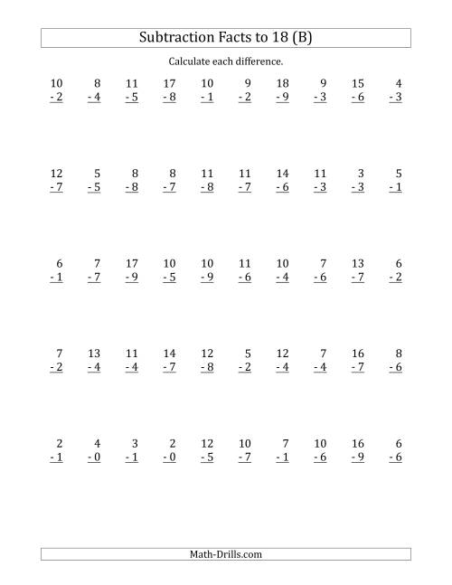 The 50 Vertical Subtraction Facts with Minuends from 0 to 18 (B) Math Worksheet